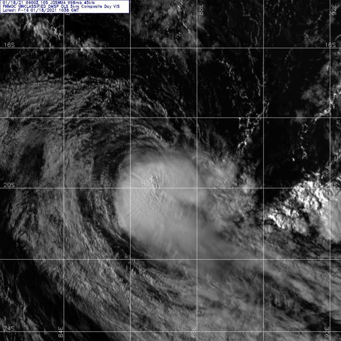 18/1038UTC. DMSP.SATELLITE  IMAGERY REVEALS A PARTIALLY-EXPOSED LOW-LEVEL CIRCULATION CENTER  (LLCC) POSITIONED ON THE NORTHWEST EDGE OF AN AREA OF PERSISTENT  DEEP CONVECTION.