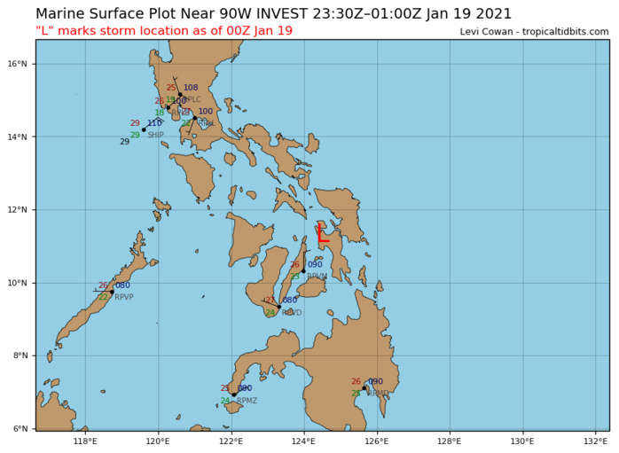 CENTER LOCATION AT 19/00UTC, APPRX 55KM WEST NORTHWEST OF TACLOBAN CITY.