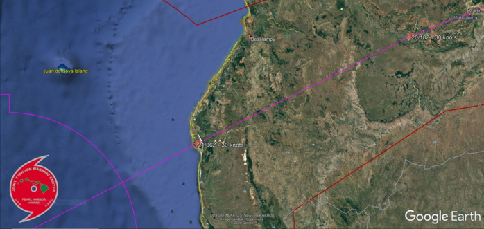 12S IS FORECAST TO EXIT OVER OPEN WATER APPRX 120KM SOUTHWEST OF BESALAMPY BY 21/06UTC.