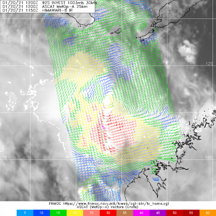 INVEST 92S. 20/12UTC. ASCAT-A IMAGE DEPICTS 25-30KT WINDS  WRAPPING ALONG THE SOUTHERN PERIPHERY OF THE LOW LEVEL CIRCULATION CENTER WHILE DEEPER CONVECTION  TO THE SOUTH HAS HIGHER WINDS (35-40KTS).