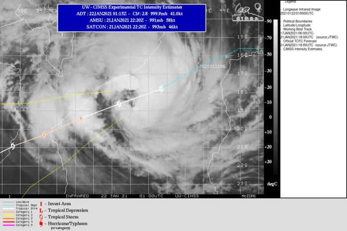 12S(ELOISE). WARNING 10( ISSUED AT 21/21UTC. WARNING 11 WILL BE ISSUED AT 22/09UTC). INTENSIFYING SYSTEM.FORECAST TO TRACK SOUTHWEST THROUGH DURATION OF  THE FORECAST PERIOD, ALONG THE NORTHWEST PERIPHERY OF A DEEP-LAYER  SUBTROPICAL RIDGE CENTERED TO THE SOUTHEAST.   EXPECTED TO MAKE LANDFALL SHORTLY BEFORE 23/06UTC JUST SOUTH  OF BEIRA, MOZAMBIQUE.SHOULD BE  ABLE TO INTENSIFY RAPIDLY, REACHING A PEAK OF 75 KNOTS JUST PRIOR TO  LANDFALL. AFTER LANDFALL, THE SYSTEM WILL RAPIDLY WEAKEN AND  ULTIMATELY THE INTENSITY WILL FALL BELOW 35KNOTS BY 25/18UTC. THERE IS A FAIR AMOUNT OF UNCERTAINTY  IN THE PEAK INTENSITY DUE TO THE LIMITED TIME REMAINING OVER WATER,  THE TIMING OF THE DECREASE OF THE CONVERGENT FLOW TO THE SOUTH, AND  THE DISRUPTION OF THE INFLOW FROM THE NORTH DUE TO PROXIMITY TO LAND  AFTER 22/18UTC.