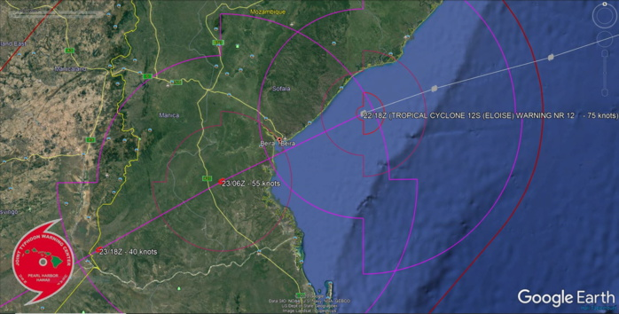 THERE IS HIGH CONFIDENCE IN THE JTWC FORECAST  TRACK, ESPECIALLY THE TRACK JUST SOUTH OF BEIRA, MOZAMBIQUE.