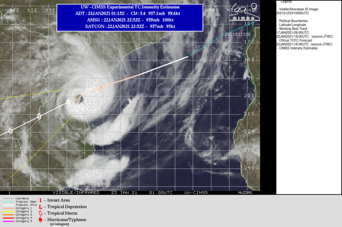 23/01UTC. THE EYE IS TRACKING APPRX 20KM SOUTH OF BEIRA MAKING LANDFALL.