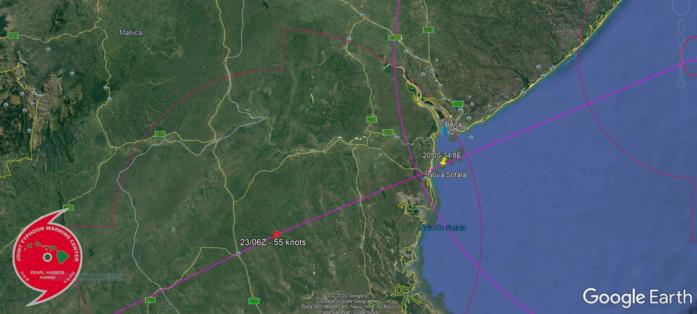 23/00UTC. THE EYE CROSSED THE COAST NEAR NOVA SOFALA. THE JTWC FORECAST TRACK HAS BEEN VERY GOOD.