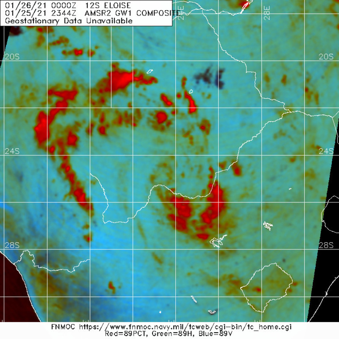 REMNANTS OF 12S(ELOISE). 25/2344UTC. THERE IS STILL A FAINT SATELLITE SIGNATURE OVER SOUTHERN AFRICA.