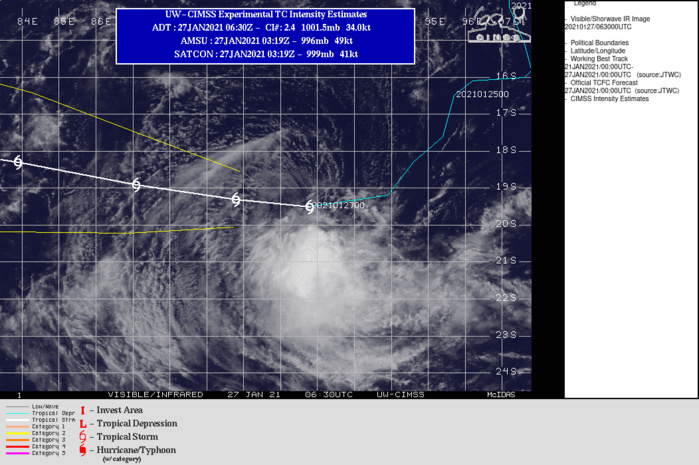 13S. WARNING 13.  THE MINIMAL SYSTEM IS FORECAST TO TRACK WEST- NORTHWEST ALONG THE NORTHERN PERIPHERY OF A LOW TO MID-LEVEL SUB-TROPICAL RIDGE ENTRENCHED TO THE SOUTH. THE SYSTEM WILL STRUGGLE AGAINST THE  MARGINAL CONDITIONS THROUGH 48H, MAINTAINING AN AVERAGE  INTENSITY OF 35 KNOTS WITH SLIGHTLY LOWER AND HIGHER EXCURSIONS ON  A DIURNAL CYCLE. IF IT SURVIVES PASSAGE THROUGH THIS MARGINAL  ENVIRONMENT, AND AS IT MOVES INTO AN IMPROVED ENVIRONMENT AFTER 72H  IT IS EXPECTED TO SLOWLY INTENSIFY TO A PEAK OF 50 KNOTS BY 120H.