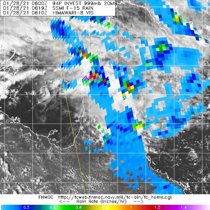 INVEST 94P. 28/0619UTC. THE OVER-LAND DISTURBANCE HAS BEEN DELIVERING LOCALISED HEAVY RAIN OVER THE CAPE YORK PENISNSULA.