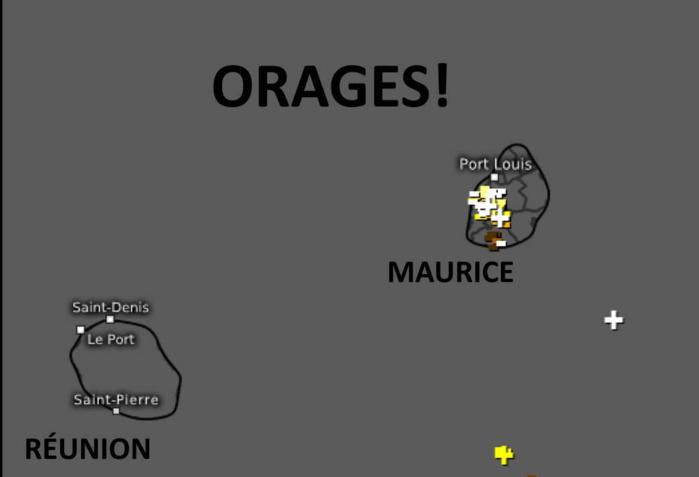 Orages détectés avant midi.Avant la mi-journée des orages ont déjà éclaté sur l'Ouest de MAURICE. WUS.
