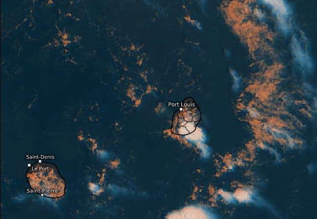 28/11h45. Les nuages bourgeonnent vite sur les IlES SOEURS. Des paquets actifs peuvent se développer rapidement très localement comme sur le Sud-Est de MAURICE au moment de cette image satellite. Eumetsat.PH.