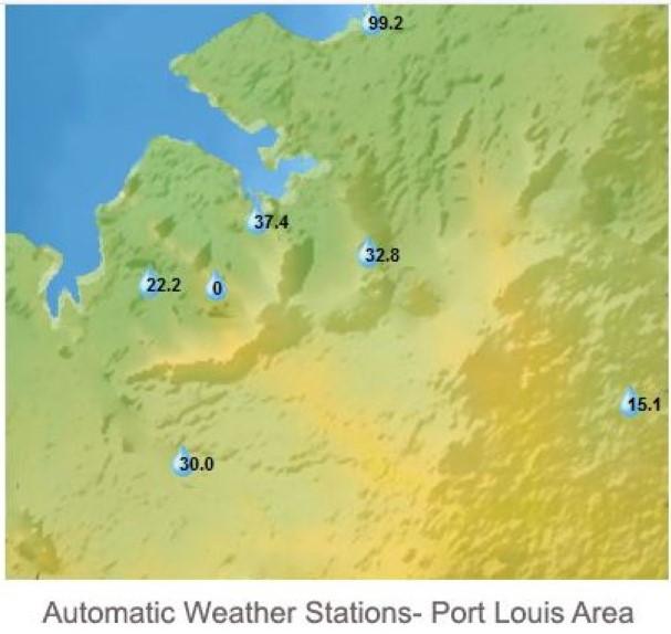 MAURICE. Cumuls de pluie en 3heures de 13h à 16h ce Jeudi après-midi. Stations de MMS/Vacoas.Riche Terre rapporte 99.2mm en 3 heures.