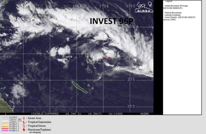 INVEST 96P. TROPICAL CYCLONE FORMATION ALERT. THE AREA IS SLOWLY CONSOLIDATING APPRX 740KM TO THE NORTHWEST OF SUVA/FIJI.