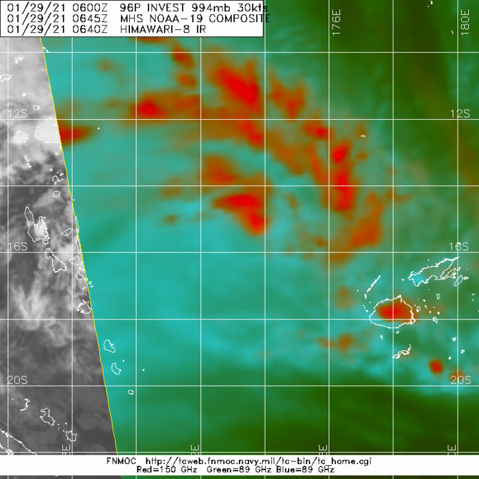 INVEST 96P.MICROWAVE IMAGE REVEALS CURVED DEEP CONVECTIVE BANDING WRAPPING INTO A CONSOLIDATING LOW LEVEL CIRCULATION WHEREAS A 282133Z METOP-B ASCAT IMAGE DEPICTS HIGHER (30 KTS) WINDS OFFSET TO THE NORTH OF THE SYSTEM WITH WEAKER WINDS ELSEWHERE.