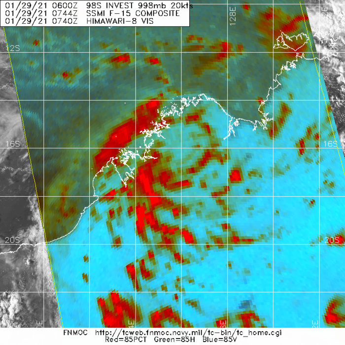 INVEST 98S. IMAGERY (MSI) DEPICTS LOW LEVEL BANDING WRAPPING INTO A LOW LEVEL CIRCULATION CENTER (LLCC) THAT IS OVER LAND.UPPER LEVEL ANALYSIS INDICATES A MARGINALLY FAVORABLE ENVIRONMENT FOR DEVELOPMENT WITH LOW TO MODERATE (10-20 KTS) VERTICAL WIND SHEAR (VWS) AND POLEWARD OUTFLOW. SURROUNDING SEA SURFACE TEMPERATURES (SST) ARE VERY WARM (30-31C), PROVIDING A CONDUCIVE ENVIRONMENT FOR DEVELOPMENT IN THE EVENT THAT INVEST 98S TRACKS OVER WATER.