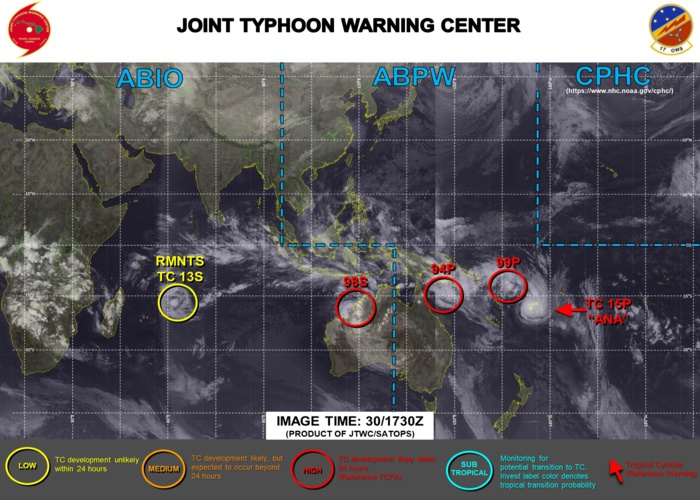 JTWC HAS BEEN ISSUING 6HOURLY WARNINGS ON 15P(ANA). 3HOURLY SATELLITE BULLETINS ARE PROVIDED FOR 15P, INVEST 94P, INVEST 99P AND INVEST 98S.