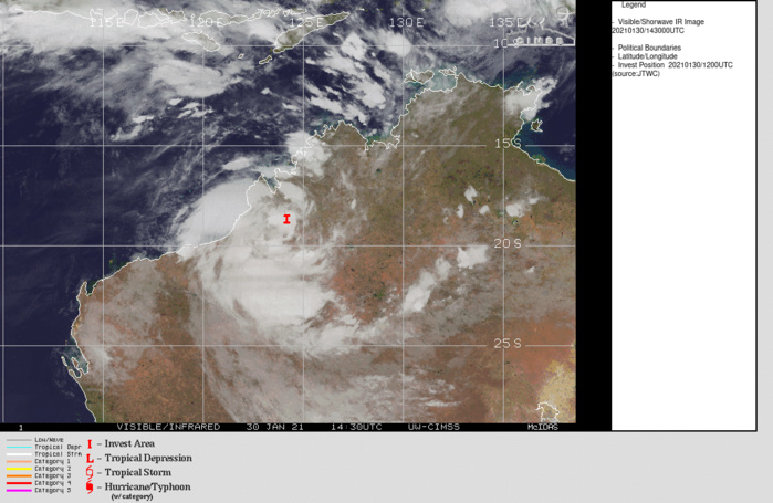 INVEST 98S. TROPICAL CYCLONE FORMATION ALERT ISSUED FOR THE STILL OVER-LAND SYSTEM. ENHANCED INFRARED SATELLITE IMAGERY AND A 300838UTC SSMIS 91 GHZ MICROWAVE  IMAGE DEPICT FORMATIVE BANDING WRAPPING INTO A DEFINED LOW LEVEL  CIRCULATION. ENVIRONMENTAL ANALYSIS INDICATES A FAVORABLE  ENVIRONMENT FOR DEVELOPMENT WITH LOW VERTICAL WIND SHEAR  AND GOOD OUTFLOW ALOFT.