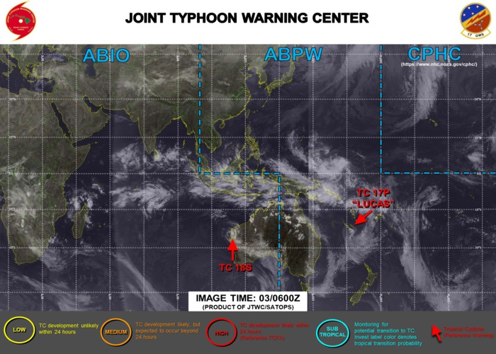 03/06UTC. JTWC IS ISSUING 6HOURLY WARNINGS ON 18S. WARNING 13/FINAL WAS ISSUED AT 03/03UTC ON 17P(LUCAS). 3 HOURLY SATELLITE BULLETINS ARE PROVIDED FOR 18S AND 17P WHEREAS THEY WERE DISCONTINUED FOR 15P(ANA) AT 02/18UTC.