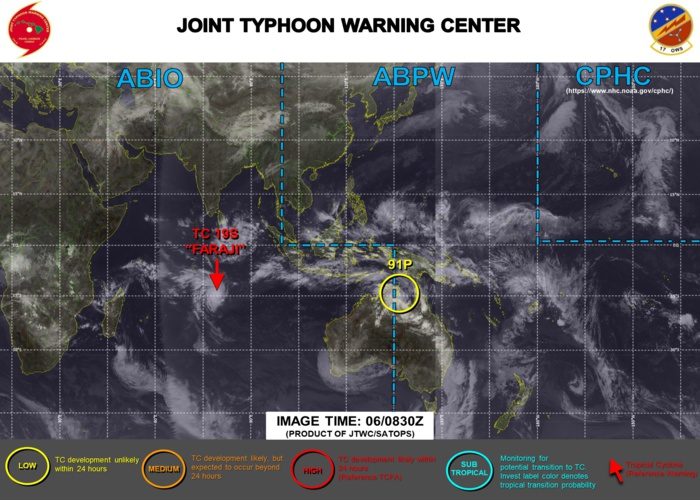 06/0830UTC. JTWC IS ISSUING 12HOURLY WARNINGS ON 19S(FARAJI). 3HOURLY SATELLITE BULLETINS ARE PROVIDED FOR 19S AND 18S.