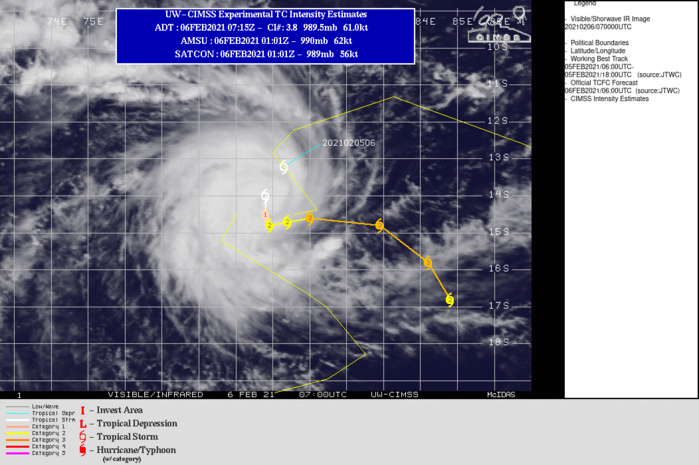 19S(FARAJI). WARNING 3 ISSUED AT 06/09UTC. FARAJI IS TRACKING THROUGH A HIGHLY  FAVORABLE ENVIRONMENT WITH WARM (29-30 CELSIUS) SEA SURFACE  TEMPERATURES (SST), ROBUST EQUATORWARD AND MODERATE POLEWARD OUTFLOW  ALOFT, AND LOW (5-10 KTS) VERTICAL WIND SHEAR (VWS).THE SYSTEM IS  CURRENTLY IN A COMPLEX, ALBEIT WEAK, STEERING ENVIRONMENT THAT HAS LED TO A RELATIVELY SLOW STORM MOTION OVER THE PAST 12 HOURS. THIS SLOW SYSTEM MOTION, COUPLED WITH HIGHLY FAVORABLE ENVIRONMENTAL  CONDITIONS, WILL LEAD TO RAPID INTENSIFICATION IN THE NEAR TERM TO 90 KNOTS/US CATEGORY 2 BY 24H. DURING THIS TIME THE STORM MOTION IS FORECAST TO REMAIN RELATIVELY SLOW AS THE SYSTEM DRIFTS POLEWARD ALONG THE  PERIPHERY OF A WEAK SUBTROPICAL RIDGE (STR) POSITIONED TO THE SOUTH- EAST. AFTER 12H, TC FARAJI WILL BEGIN TO TRACK EASTWARD ALONG THE SOUTHERN PERIPHERY OF A NEAR EQUATORIAL RIDGE (NER) POSITIONED TO THE NORTH AS THE INITIAL STEERING STR WEAKENS. CONTINUED FAVORABLE ENVIRONMENTAL CONDITIONS WILL LEAD TO FURTHER INTENSIFICATION THROUGH 72H AT WHICH TIME THE SYSTEM WILL REACH A PEAK INTENSITY OF 110 KNOTS/US CATEGORY 3. THEREAFTER, A BUILDING STR POSITIONED TO THE EAST WILL OVERTAKE STEERING AND BEGIN TO DRIVE TC FARAJI SOUTHEASTWARD. DURING THIS TIME, MODERATE (15-25 KTS) WIND SHEAR WILL LEAD TO A GRADUAL WEAKENING TO 90 KNOTS BY 120H.