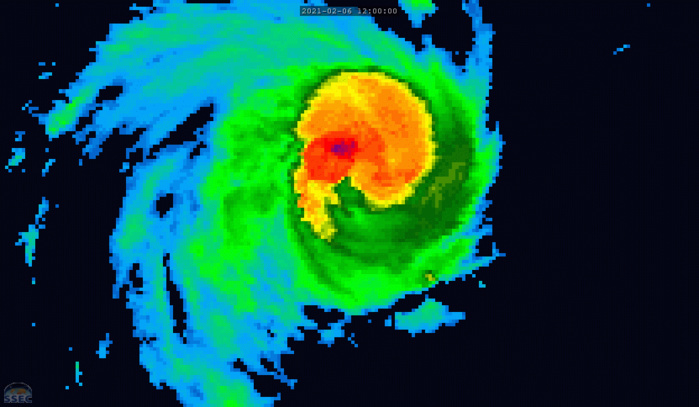 19S(FARAJI). 06/20UTC. 8H LOOP.ANIMATED ENHANCED INFRARED (EIR)  SATELLITE IMAGERY SHOWS THE SYSTEM HAS DEVELOPED A PINHOLE EYE AS IT  BECAME MORE COMPACT AND SYMMETRICAL. CLICK ON THE IMAGE TO ANIMATE IT IF NECESSARY.