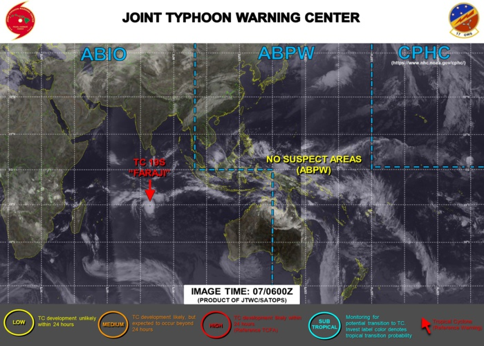 07/06UTC. JTWC IS ISSUING 12HOURLY WARNINGS ON TC 19S(FARAJI). 3 HOURLY SATELLITE BULLETINS ARE PROVIDED FOR 19S WHEREAS THEY WERE DISCONTINUED FOR INVEST 91P AT 07/0230UTC.