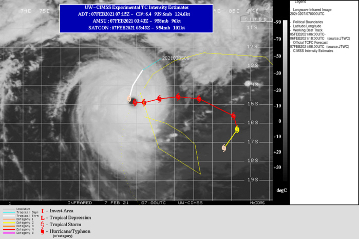 19S(FARAJI). WARNING 5 ISSUED AT 07/09UTC. 19S IS TRACKING ALONG THE SOUTHERN PERIPHERY OF A NEAR EQUATORIAL RIDGE (NER) TO THE NORTH AND THROUGH A FAVORABLE ENVIRONMENT WITH LOW (5- 10 KTS) VERTICAL WIND SHEAR (VWS), WARM (29-30 CELSIUS) SEA SURFACE TEMPERATURE (SST) AND ROBUST POLEWARD AND EQUATORWARD OUTFLOW.  DESPITE THESE FAVORABLE CONDITIONS, TC FARAJI WILL STRUGGLE TO  MAINTAIN THE CURRENT 115 KNOTS INTENSITY OVER THE NEXT 24 HOURS DUE TO ENTRAINMENT OF DRY AIR ALONG THE EASTERN PERIPHERY OF THE SYSTEM AND A LIKELY LOWER OCEAN HEAT CONTENT AS A RESULT OF THE QUASI STATIONARY STORM  MOTION. AFTER 24H, ENVIRONMENTAL CONDITIONS WILL SUPPORT GRADUAL  RE-INTENSIFICATION TO 120 KNOTS BY 48H. THEREAFTER, A BUILDING  SUBTROPICAL RIDGE (STR) POSITIONED TO THE EAST-SOUTHEAST WILL  CONTINUE TO STRENGTHEN AND BY 72H WILL BECOME THE DOMINANT  STEERING MECHANISM. INITIALLY, THE STEERING STR WILL DRIVE THE  SYSTEM POLEWARD AFTER 72H AND THEN SOUTHWESTWARD AFTER 96H.  MODERATE (15-20 KTS) WIND SHEAR AFTER 72H, COUPLED WITH COOLING SEAS AND  CONVERGENT UPPER LEVEL WESTERLY WINDS TO THE SOUTH WILL LEAD TO  FURTHER WEAKENING TO 70 KNOTS BY 120H.