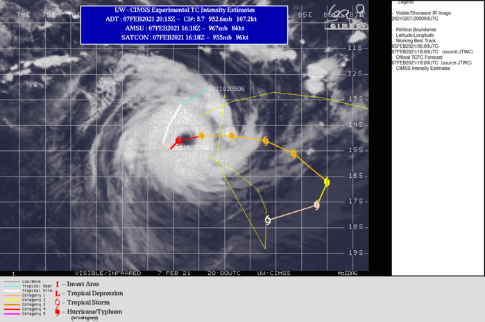 19S(FARAJI). WARNING 6.THE SYSTEM IS IN A FAVORABLE ENVIRONMENT WITH WARM (29-30C) SEAS, GOOD RADIAL OUTFLOW ALOFT, AND LOW (5-10KT) VERTICAL WIND SHEAR (VWS). TC 19S IS SLOWLY COMING OUT OF A QUASI-STATIONARY (QS) STATE AS THE NEAR-EQUATORIAL RIDGE TO THE NORTH STEERS IT SLOWLY NORTHEASTWARD. AROUND 72H, A SUBTROPICAL RIDGE (STR) TO THE EAST WILL BUILD, ASSUME STEERING AND GRADUALLY DRIVE THE CYCLONE SOUTHWESTWARD THEN WESTWARD. AS TC 19S PROGRESSES EASTWARD, THE REDUCED OCEAN HEAT CONTENT CAUSED BY UPWELLING DUE TO ITS PROLONGED QS STATE, PLUS THE INFLUX OF COLD DRY AIR, WILL OFFSET THE OTHERWISE FAVORABLE ENVIRONMENT, RESULTING IN A NET WEAKENING AND, BY 72H, WILL BE DOWN TO 90KNOTS/US CATEGORY 2. AFTERWARD, AS THE CYCLONE MAKES A WIDE U-TURN WESTWARD, INCREASING VWS (20KT+), PLUS THE SUBSIDING IMPACT OF AN APPROACHING MID-LATITUDE TROUGH, WILL RAPIDLY ERODE TC FARAJI DOWN TO 45KNOTS BY 120H.