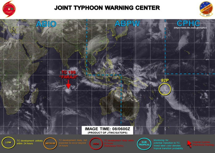 08/06UTC. JTWC IS ISSUING 12HOURLY WARNINGS ON TC 19S(FARAJI). 3HOURLY SATELLITE BULLETINS ARE PROVIDED FOR 19S. INVEST 92P REMAINS UNDER WATCH.