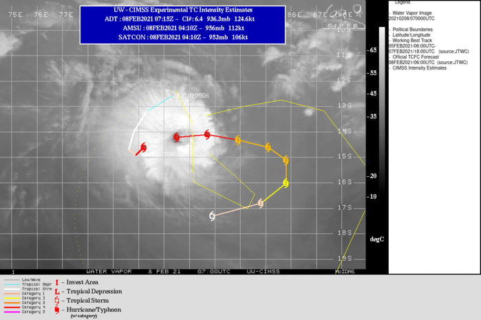 19S(FARAJI). WARNING 7 ISSUED AT 08/09UTC.TC FARAJI IS TRACKING ALONG THE SOUTHERN PERIPHERY OF A NEAR EQUATORIAL RIDGE (NER) POSITIONED TO THE NORTH AND THROUGH A  FAVORABLE ENVIRONMENT CHARACTERIZED BY LOW (5-10 KTS) VERTICAL  WIND SHEAR AND WARM (28-29 CELSIUS) SEA SURFACE TEMPERATURE (SST) THAT IS OFFSET BY REDUCED OUTFLOW ALOFT. THIS LOSS OF  PREVIOUSLY ROBUST POLEWARD AND EQUATORWARD OUTFLOW, COUPLED WITH THE UPWELLING OF COOLER WATER DUE TO THE PREVIOUSLY QUASI- STATIONARY (QS) TRACK MOTION, WILL PREVENT TC FARAJI FROM FURTHER INTENSIFYING, HOWEVER THE ANNULAR CONVECTIVE STRUCTURE WILL ALLOW FOR ONLY MODERATE WEAKENING IN THE NEAR TERM TO 100 KNOTS/CATEGORY 3 BY 48H. THE SYSTEM WILL CONTINUE TO TRACK EASTWARD UNDER THE STEERING  INFLUENCE OF THE NER UNTIL 48H AT WHICH POINT A BUILDING  SUBTROPICAL RIDGE (STR) POSITIONED TO THE SOUTHEAST WILL BEGIN TO  TAKE OVER AS THE PRIMARY STEERING MECHANISM. AS THIS RIDGE  CONTINUES TO BUILD IT WILL BEGIN TO DRIVE TC FARAJI INITIALLY  SOUTHWARD FROM 48H TO 72H, SOUTHWESTWARD FROM 72H TO 96H AND THEN WESTWARD THROUGH THE REMAINDER OF THE FORECAST PERIOD. STEADY WEAKENING WILL OCCUR DURING THIS PERIOD AS A RESULT OF  CONTINUAL MODERATE WIND SHEAR AFTER 48H, COUPLED WITH CONVERGENT FLOW  ALOFT AND POSSIBLY ENTRAINMENT OF COOL DRY AIR FROM THE EAST. BY  120H, THESE CONDITIONS WILL WEAKEN THE SYSTEM TO 45 KNOTS.