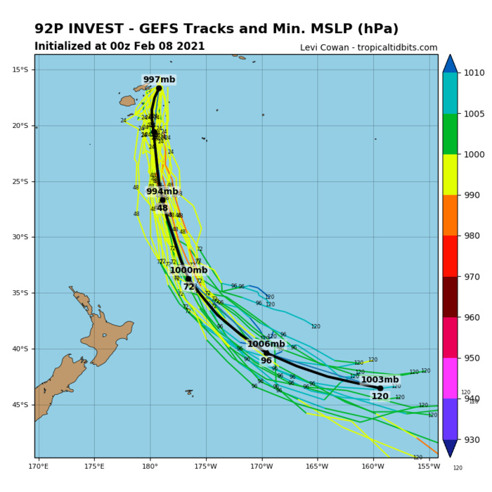 INVEST 92P. ENVIRONMENTAL  ANALYSIS SHOWS A MINIMALLY FAVORABLE ENVIRONMENT WITH MODERATE (15- 20 KTS) VERTICAL WIND SHEAR OFFSET BY WARM (27-29C) SEA SURFACE  TEMPERATURES AND GOOD POLEWARD OUTFLOW. NUMERICAL MODELS ARE IN  GENERAL AGREEMENT THAT 92P WILL CONSOLIDATE AS IT TRACKS POLEWARD  WITHIN THE SOUTH PACIFIC CONVERGENCE ZONE.