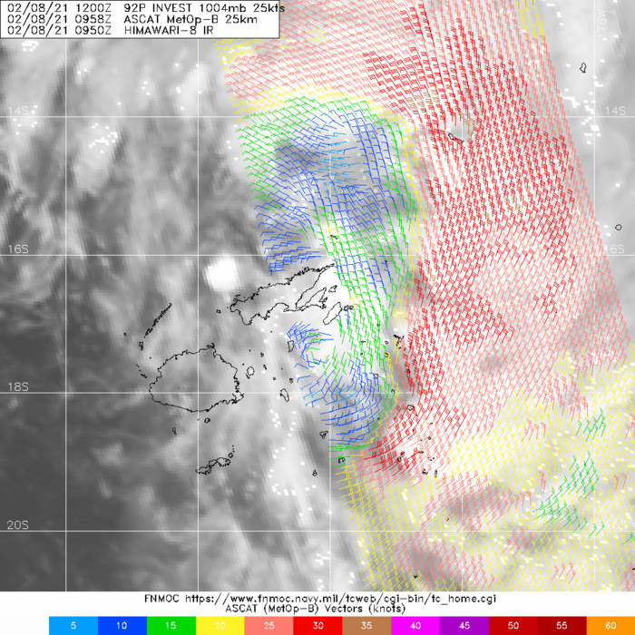 INVEST 92P. 080958UTC ASCAT-B PASS REVEALS THAT THE LOW LEVEL CIRCULATION IS ELONGATED ALONG THE NORTH-SOUTH AXIS AND CONTAINS 30-35 KNOTS WINDS IN THE CONVERGENT FLOW ALONG THE EASTERN PERIPHERY, ALTHOUGH THE WINDS NEAR THE CENTER OF THE  ELONGATED CIRCULATION REMAIN RELATIVELY WEAK (10-15 KNOTS).