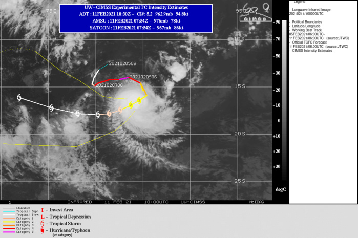 19S(FARAJI). WARNING 13 ISSUED AT 11/09UTC.TC FARAJI IS TRACKING ALONG THE NORTHWESTERN PERIPHERY OF A BUILDING SUBTROPICAL RIDGE (STR) POSITIONED TO THE  SOUTHWEST AND THROUGH A MARGINAL ENVIRONMENT CHARACTERIZED BY WARM (27-28 CELSIUS) SEA SURFACE TEMPERATURES AND ROBUST POLEWARD OUTFLOW OFFSET BY MODERATE (15-20 KTS) VERTICAL WIND SHEAR  AND CONVERGENT FLOW ALONG THE NORTHWESTERN PERIPHERY OF THE SYSTEM. AS THE STEERING STR CONTINUES TO BUILD IT WILL REPOSITION FARTHER WEST AND BEGIN TO DRIVE TC FARAJI GENERALLY WESTWARD AFTER 36H. MODERATE WIND SHEAR COUPLED WITH PERIODS OF CONVERGENT FLOW ALOFT WILL  WEAKEN THE SYSTEM TO 45 KNOTS BY 72H. THEREAFTER, THE STEERING STR WILL REPOSITION AND BEGIN TO STEER THE SYSTEM WEST-NORTHWESTWARD.  LOW (5-10 KTS) WIND SHEAR AND CONTINUED WARM (28-39 CELSIUS) SEAS AFTER  72H WILL LEAD TO GRADUAL INTENSIFICATION TO 55 KNOTS BY 120H.