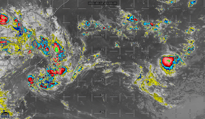 19S(FARAJI) & INVEST 93S. ON THE RIGHT END OF THE IMAGERY 19S IS RAPIDLY WEAKENING. ON THE LEFT END 93S IS A SUBTROPICAL SYSTEM WHOSE CENTER IS CLOSE TO THE COASTLINE OF MOZAMBIQUE. THE SYSTEMS CIRCULATION IS BRINGING POTENTIAL HEAVY RAIN SOUTH OF THE COMOROS, OVER WESTERN MADAGASCAR AND OVER PARTS OF MOZAMBIQUE. CLICK TO ANIMATE IF NEEDED.