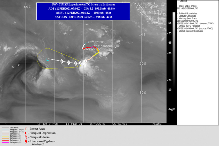 19S(FARAJI). WARNING 17 ISSUED AT 13/09UTC. 19S IS TRACKING WEST ALONG THE NORTHERN PERIPHERY OF A  LOW TO MID-LEVEL SUBTROPICAL RIDGE (STR) ENTRENCHED TO THE SOUTH. AS  THE STR BUILDS IN OVER THE NEXT 24 HOURS, TC 19S IS FORECAST TO TAKE  ON A SLIGHTLY MORE NORTHWESTWARD TRACK THROUGH THE REMAINDER OF THE  FORECAST PERIOD. THE OVERALL ENVIRONMENT HAS BECOME INCREASINGLY  UNFAVORABLE, WITH MODERATE (15-20 KTS) NORTHWESTERLY WIND SHEAR AND  CONVERGENT UPPER-LEVEL FLOW FROM A DEEP UPPER-LEVEL LOW TO THE  SOUTHWEST IMPINGING THE SECONDARY CIRCULATION. AS THE SYSTEM  CONTINUES MOVING WEST IT WILL ENCOUNTER INCREASINGLY DRIER AIR IN  THE LOW TO MID-LEVELS, WHICH COMBINED WITH THE PERSISTENT CONVERGENT  NORTHWESTERLY FLOW ALOFT, WILL LEAD TO STEADY WEAKENING WITH INTENSITY FORECAST TO FALL BELOW 35KNOTS BY 72HOURS.