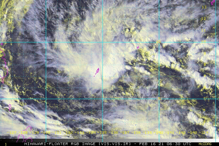 INVEST 91W. 16/0630UTC.SATELLITE IMAGERY AND  A 160405Z AMSR2 89GHZ MICROWAVE PASS REVEALS CONSOLIDATING BANDING  WITH FLARING CONVECTION IN THE EASTERN PERIPHERY WRAPPING INTO A LOW  LEVEL CIRCULATION CENTER (LLCC).