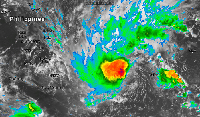01W(DUJUAN).ANIMATED MULTISPECTRAL SATELLITE IMAGERY  REVEALS A FULLY EXPOSED, WELL-DEFINED LOW LEVEL CIRCULATION CENTER  (LLCC), WITH FLARING DEEP CONVECTION WITH OVERSHOOTING TOPS SHEARED  TO THE WEST OF THE LLCC, LENDING HIGH CONFIDENCE TO THE INITIAL  POSITION.