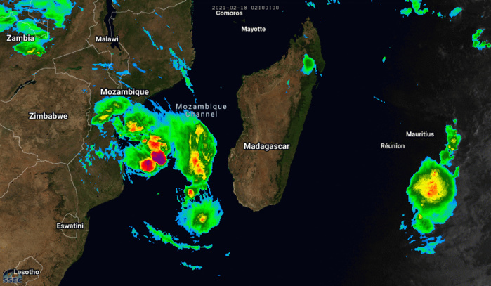 21S(GUAMBE). 18/07UTC. ANIMATED MULTISPECTRAL SATELLITE  IMAGERY DEPICTS A STEADILY IMPROVING CONVECTIVE SIGNATURE WITH WEAK  CYCLONIC BANDING FEATURES BECOMING EVIDENT WITHIN THE CENTRAL DENSE  OVERCAST (CDO) WHICH IS OBSCURING THE LOW LEVEL CIRCUATION CENTER  (LLCC).