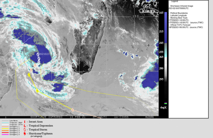 21S(GUAMBE). WARNING 2 ISSUED AT 18/09UTC.  ENVIRONMENTAL ANALYSIS INDICATES FAVORABLE CONDITIONS WITH A  DEVELOPING POINT SOURCE DIRECTLY OVER THE LLOW LEVEL CENTER PROVIDING LOW (5-10  KTS) WIND SHEAR, MODERATE TO STRONG, NEARLY RADIAL OUTFLOW AND WARM (29- 30C) SSTS. TC 21S IS CURRENTLY ENSCONCED BETWEEN A BUILDING  SUBTROPICAL RIDGE (STR) CENTER OVER NORTHERN MADACASGAR AND A  SECONDARY STR CENTER OVER NORTHERN SOUTH AFRICA, RESULTING IN SLOW  MOVEMENT SOUTHWARD. OVER THE NEXT 12-24 HOURS, THE EASTERN STR IS  EXPECTED TO BUILD SUFFICIENTLY TO BECOME THE DOMINATE STEERING  MECHANISM AND TURN TC 21S TO A WEST-SOUTHWESTWARD TRACK. AS THE STR  MOVES SOUTH-SOUTHEASTWARD THROUGH 48H, TC 21S WILL ACCELERATE  SOUTH THEN SOUTHEASTWARD AS IT ROUNDS THE RIDGE AXIS. AFTER 72H  THE SYSTEM RAPIDLY ACCELERATES SOUTHEASTWARD ALONG THE BAROCLINIC  ZONE AS IT BEGINS TO INTERACT WITH STRONG MID-LATITUDE WESTERLY FLOW  ALOFT. TC 21S IS EXPECTED TO STEADILY INTENSIFY UNDER FAVORABLE  CONDITIONS TO A PEAK OF 85 KNOTS/CATEGORY 2 BY 48H, THEN MAINTAIN INTENSITY  THROUGH 72H. THEREAFTER, INCREASING WIND SHEAR WILL OFFSET THE STRONG  POLEWARD OUTFLOW, LEADING TO SLOW WEAKENING. TC 21S WILL BEGIN  EXTRATROPICAL TRANSITION BY 96H, AND BECOME A STORM-FORCE  EXTRATROPICAL SYSTEM BY 120H.