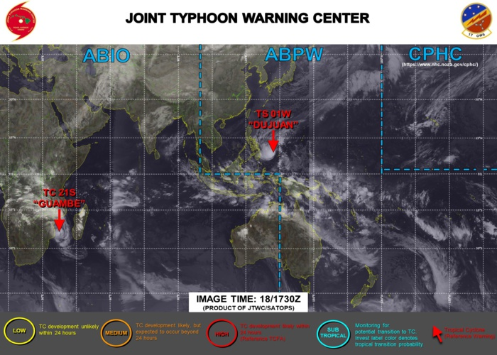 18/18UTC. JTWC IS ISSUING 6HOURLY WARNINGS ON 01W AND 12HOURLY WARNINGS ON 21S. 3 HOURLY SATELLITE BULLETINS ARE ISSUED FOR BOTH SYSTEMS.