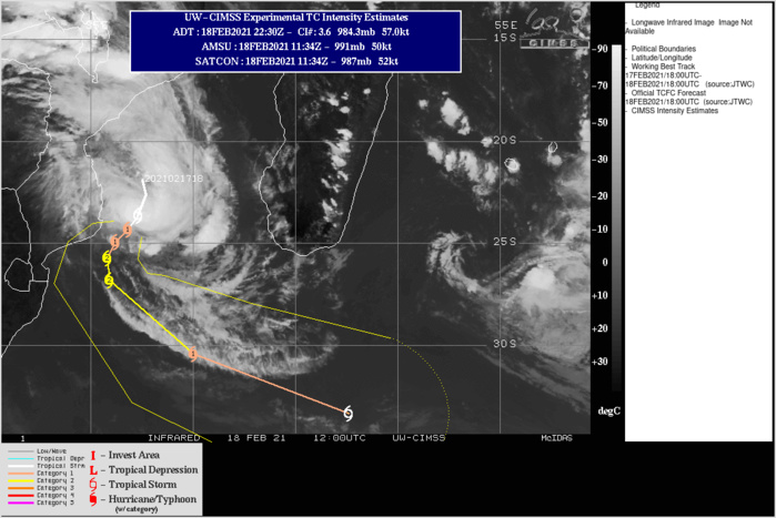 CLICK TO ANIMATE. 21S(GUAMBE). WARNING 3 ISSUED AT 18/21UTC. ANIMATED ENHANCED INFRARED SATELLITE  IMAGERY DEPICTS A CONSOLIDATING SYSTEM WITH CONVECTIVE BANDING  WRAPPING INTO A DEVELOPING CENTRAL DENSE OVERCAST FEATURE OBSCURING  THE LOW-LEVEL CIRCULATION CENTER (LLCC). A 181620Z MHS 89GHZ  MICROWAVE IMAGE SHOWS A COMPACT CORE OF DEEP CONVECTION WITH  FRAGMENTED BANDING OVER THE EASTERN SEMICIRCLE. UPPER-LEVEL ANALYSIS  INDICATES A FAVORABLE ENVIRONMENT WITH LOW (5-10 KNOTS) VERTICAL  WIND SHEAR (VWS), EXCELLENT EQUATORWARD OUTFLOW, IMPROVING POLEWARD  OUTFLOW INTO THE WESTERLIES TO THE SOUTH AND WARM (28-29C) SST  VALUES. THE INITIAL INTENSITY IS ASSESSED AT 55 KNOTS BASED ON THE  HIGHER END OF DVORAK INTENSITY ESTIMATES RANGING FROM 3.0-3.5 (45-55  KNOTS) AND AN 181800Z ADT ESTIMATE OF 3.5 (55 KNOTS). AN 181842Z  ASCAT-A PARTIAL IMAGE SUPPORTS THE INITIAL POSITION WITH FAIR  CONFIDENCE. TC 21S IS FORECAST TO TRACK SOUTHWARD TO SOUTH- SOUTHWESTWARD THROUGH T48h ALONG THE WESTERN PERIPHERY OF A NORTH- SOUTH ORIENTED SUBTROPICAL RIDGE (STR) POSITIONED TO THE EAST. AFTER  48h, THE SYSTEM WILL RECURVE SOUTHEASTWARD TO EAST-SOUTHEASTWARD  AS IT ROUNDS THE STR AND BEGINS TO INTERACT WITH THE MIDLATITUDE  WESTERLIES. TC 21S IS FORECAST TO BEGIN EXTRA-TROPICAL TRANSITION  (ETT) NEAR 72H AND WILL COMPLETE ETT BY 96H AS IT ACCELERATES  WITHIN THE STRONG WESTERLY FLOW AND GAINS FRONTAL CHARACTERISTICS.  NUMERICAL MODEL GUIDANCE IS IN GOOD AGREEMENT AND SUPPORTS THE JTWC  FORECAST TRACK WITH HIGH CONFIDENCE. TC 21S IS EXPECTED TO GRADUALLY  INTENSIFY THROUGH 36H WITH A PEAK INTENSITY OF 85 KNOTS/CATEGORY 2 AT 36H  AND 48H. STEADY WEAKENING WILL OCCUR AFTER 48H AS WIND SHEAR INCREASES AND SST VALUES COOL TO 25-24C.