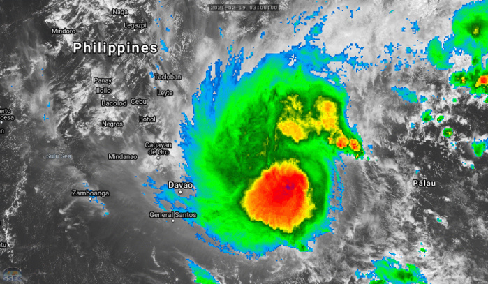 01W(DUJUAN). 19/09UTC.ANIMATED MULTISPECTRAL SATELLITE IMAGERY  SHOWS THAT THE SYSTEM IS ONCE AGAIN STRUGGLING TO MAINTAIN THE  CORE CONVECTION OVER THE LOW LEVEL CIRCULATION CENTER, AS  EASTERLY WIND SHEAR REMAINS FAIRLY STRONG. THE CIRCULATION CENTER REMAINS  OBSCURED BY THE CIRRUS SHIELD FROM THE FLARING CONVECTION.