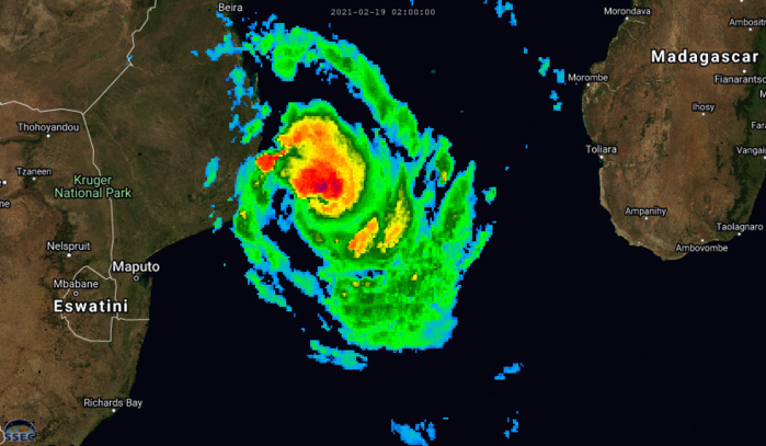 21S(GUAMBE). 19/08UTC. ANIMATED ENHANCED INFRARED (EIR) AND MULTISPECTRAL SATELLITE IMAGERY (MSI) DEPICT A RAPIDLY CONSOLIDATING  AND INTENSIFYING SYSTEM WITH A SMALL, COMPACT CORE OF DEEP  CONVECTION AND A DISORGANIZED, ELONGATED AND CLOUD FILLED EYE FEATURE. CLICK ON THE IMAGERY TO ANIMATE.