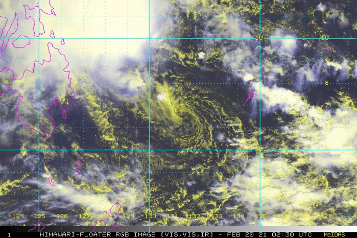 01W(DUJUAN). 20/0230UTC. FULLY EXPOSED LOW LEVEL CENTER AWAY FROM THE CONVECTION.