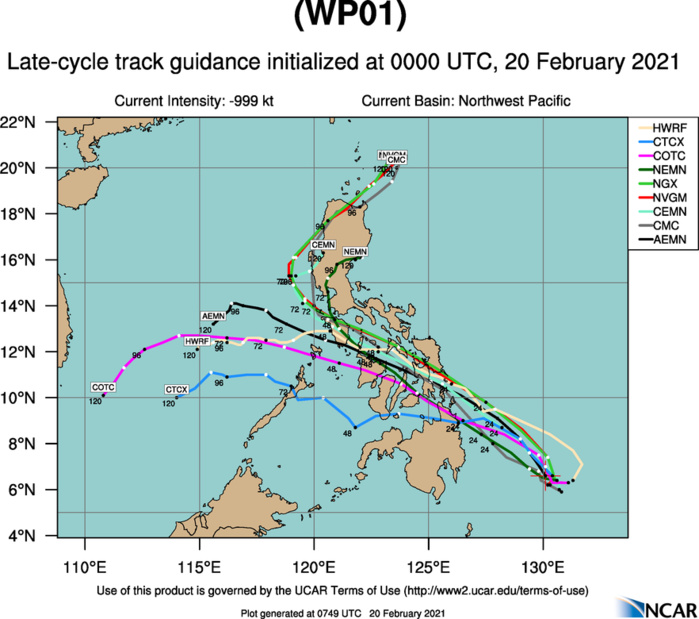 01W(DUJUAN). NUMERICAL MODELS DIVERGE SIGNIFICANTLY TO 445KM+ BY 48H. THIS,  PLUS THE UNCERTAINTY IN THE EVENTUAL NORTHWESTWARD MOTION, LEND LOW  CONFIDENCE IN THE JTWC TRACK FORECAST.