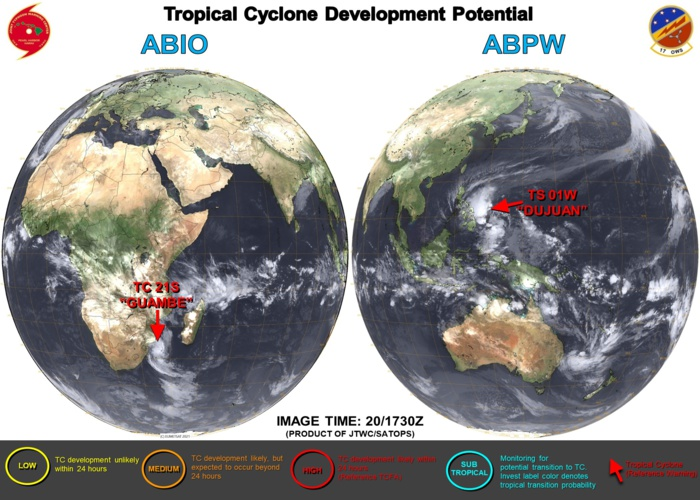 21/00UTC. JTWC IS ISSUING 6HOURLY WARNINGS ON 01W(DUJUAN) AND 12HOURLY WARNINGS ON 21S(GUAMBE). 3 HOURLY SATELLITE BULLETINS ARE ISSUED FOR BOTH SYSTEMS.