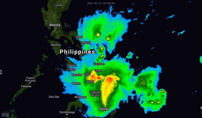 01W(DUJUAN). 21/14UTC. THE 5H ANIMATION SHOWS THE RAIN-BANDS TRACKING OVER LEYTE AND THE SURROUNDING AREAS. PH. CLICK TO ANIMATE IF NEEDED.