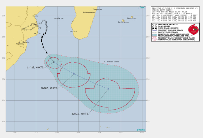 21S(GUAMBE). WARNING 9 ISSUED AT 21/15UTC. ANALYSIS INDICATES STRONG POLEWARD OUTFLOW OFFSET BY INCREASING VERTICAL WIND  SHEAR (20KTS+), AND COOLING SST (26C AND DROPPING). TC 21S WILL  CONTINUE ON ITS CURRENT TRACK FOR THE REMAINDER OF THE FORECAST. THE  MARGINAL ENVIRONMENT WILL SUSTAIN THE INTENSITY UP TO 12H,  AFTERWARD, DOWN TO 40KNOTS BY 24H. CONCURRENTLY, THE SYSTEM WILL  BEGIN EXTRA-TROPICAL TRANSITION BY 12H AND TRANSFORM INTO A STORM- FORCE COLD CORE LOW WITH AN EXPANSIVE WIND FIELD BY 24H.