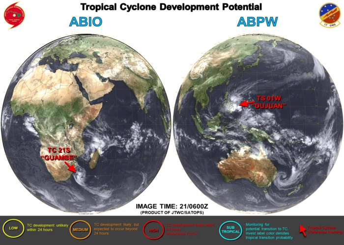 21/12UTC.  JTWC IS ISSUING 6HOURLY WARNINGS ON 01W(DUJUAN) AND 12HOURLY WARNINGS ON 21S(GUAMBE). 3 HOURLY SATELLITE BULLETINS ARE ISSUED FOR BOTH SYSTEMS.