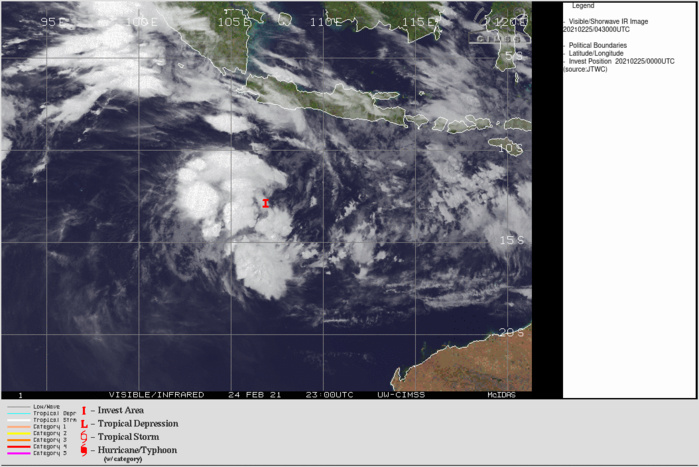 INVEST 98S. 25/0430UTC. THE POTENTIAL FOR THE DEVELOPMENT OF A  SIGNIFICANT TROPICAL CYCLONE(WINDS NEAR THE CENTER REACHING AT LEAST 35KNOTS) WITHIN THE NEXT 24 HOURS IS HIGH.CLICK TO ANIMATE IF NEEDED.
