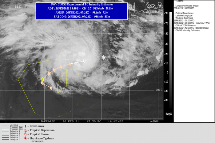 22S(MARIAN). WARNING 2 ISSUED AT 26/15UTC. UPPER LEVEL ANALYSIS INDICATES LOW  TO MODERATE (10-15KT) VERTICAL WIND SHEAR AND GOOD RADIAL  OUTFLOW. ADDITIONALLY, ALONG-TRACK SEA SURFACE TEMPERATURES ARE  CONDUCIVE AT 28-29C. TC 22S WILL TRACK MORE WEST-SOUTHWESTWARD TO  SOUTHWESTWARD ALONG THE NORTHWESTERN PERIPHERY OF THE DEEP-LAYERED  SUBTROPICAL RIDGE (STR) TO THE SOUTHEAST. AFTER 48H, THE CYCLONE  WILL SLOW DOWN AS IT ROUNDS THE WESTERN EDGE OF THE STR, AND AFTER  96H, WILL RE-ACCELERATE SOUTHEASTWARD ON THE POLEWARD SIDE OF THE  STR. THE FAVORABLE ENVIRONMENT WILL PROMOTE A GRADUAL  INTENSIFICATION TO A PEAK OF 85KTS/US CATEGORY 2 BY 72H. AFTERWARD, INCREASING  WIND SHEAR AS THE SYSTEM MAKES THE TURN INTO THE PREVAILING WESTERLIES WILL  GRADUALLY ERODE THE SYSTEM DOWN TO 65KNOTS/US CATEGORY 1 BY 120H.