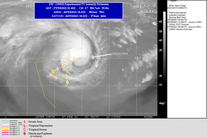 22S(MARIAN). WARNING 3 ISSUED AT 27/03UTC. UPPER LEVEL ANALYSIS INDICATES A FAVORABLE ENVIRONMENT WITH LOW VERTICAL WIND SHEAR AND GOOD EQUATORWARD OUTFLOW. TC 22S WILL  CONTINUE TO TRACK WEST-SOUTHWESTWARD ALONG THE NORTHERN PERIPHERY OF  THE SUBTROPICAL RIDGE (STR) TO THE SOUTH. ALONG TRACK SPEEDS SLOW AS  A COMPETING STEERING ENVIRONMENT DEVELOPS WITH A NEAR EQUATORIAL  RIDGE (NER) STRENGTHENING TO THE NORTHEAST. TC 22S REACHES A PEAK  INTENSITY OF 85 KNOTS/US CATEGORY 2 AT 48H UNDER FAVORABLE CONDITIONS. AFTER 72H,  THE SYSTEM WILL BEGIN TO MOVE EAST-SOUTHEASTWARD AS THE STR  WEAKENS AND THE NER TAKES OVER STEERING. AFTER 72H, AN  APPROACHING MIDLATITUDE TROUGH AND INCREASING VWS FROM PREVAILING  WESTERLIES BEGIN A WEAKENING TREND FOR TC 22S THROUGHOUT THE  REMAINDER OF THE FORECAST.